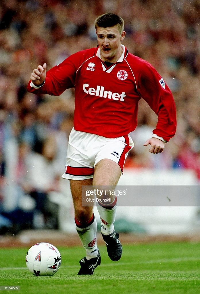 Jamie Pollock of Middlesbrough in action during an FA Carling Premiership match against Blackburn Rovers at the Riverside Stadium in Middlesbrough, England. Middlesbrough won the match 2-0. \ Mandatory Credit: Clive Brunskill/Allsport