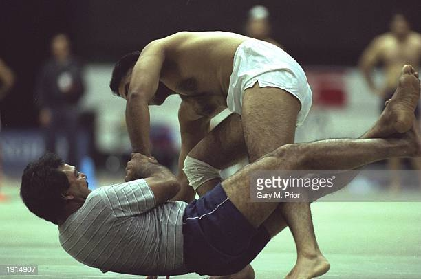 Kabaddi athletes in action during the first National Kabaddi Championships at the National Indoor Arena in Birmingham England Mandatory Credit Gary M...