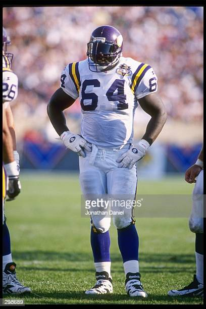 Offensive lineman Randall McDaniel of the Minnesota Vikings looks on during a game against the Chicago Bears at Soldier Field in Chicago, Illinois....