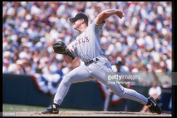 Pitcher Jim Abbott of the California Angels throws a pitch during a game against the Baltimore Orioles at Camden Yards in Baltimore Maryland The...