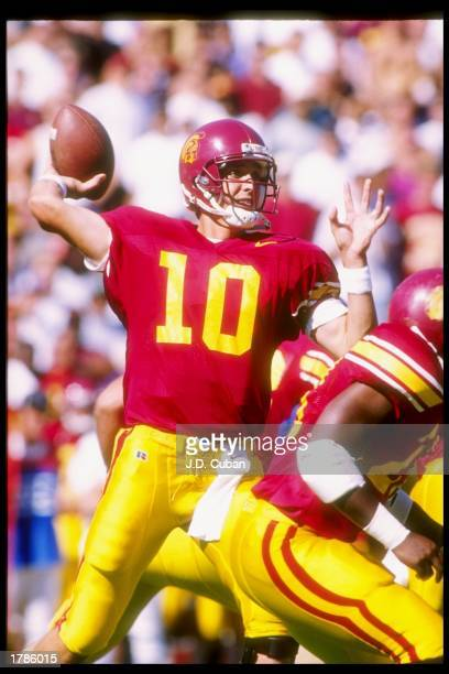 Quarterback Brad Otton of the USC Trojans looks to pass the ball during a game against the San Jose State Spartans at the Los Angeles Memorial...