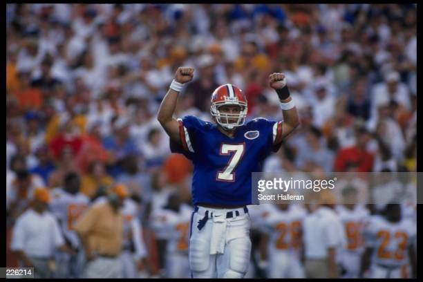 Quarterback Danny Wuerffel of the University of Florida celebrates during the Gators 6237 win over the University of Tennessee at Florida Field in...