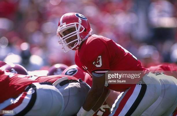 Quarterback Hines Ward of the Georgia Bulldogs scans the defense as he barks out the cadence before the snap of the ball during the Bulldogs 310 loss...