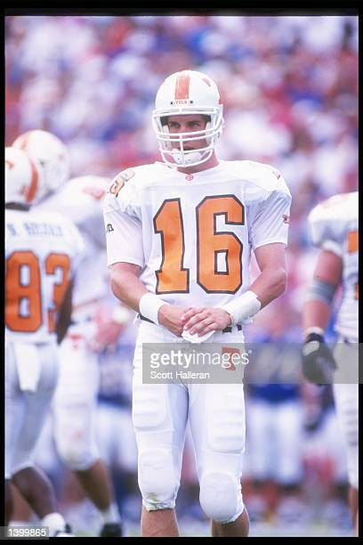 Quarterback Peyton Manning of the Tennessee Volunteers stands on the field during a game against the Florida Gators at Florida Field in Gainesville...