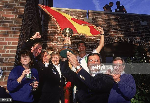 Seve Ballesteros of European team lifts the trophy after a 145 to 135 victory over the USA in the Ryder Cup at Oak Hill Country Club in Rochester New...