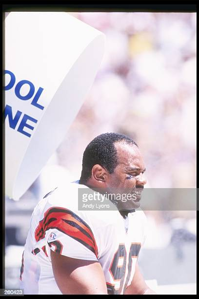 Defensive lineman Tim Johnson of the Cincinnati Bengals looks on during a game against the San Diego Chargers at Jack Murphy Stadium in San Diego...