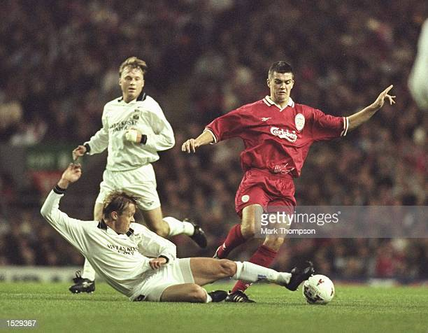 Dominic Matteo of Liverpool in action during the Cup Winners Cup tie between Liverpool and MyPa 47 at Anfield in Liverpool Liverpool went on to win...
