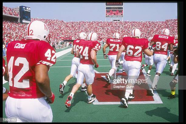 General view of the Nebraska Cornhuskers coming out onto the field for a game against the Michigan State Spartans at Memorial Stadium in Lincoln...
