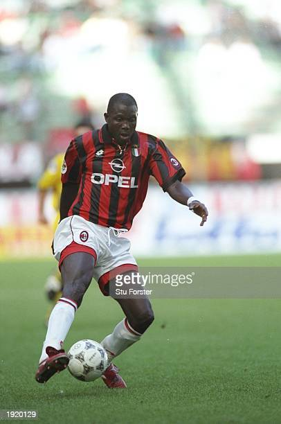 George Weah of AC Milan in action during a Serie A match against Verona at the Guiseppe Meazza Stadium in Milan Italy Mandatory Credit Stu...