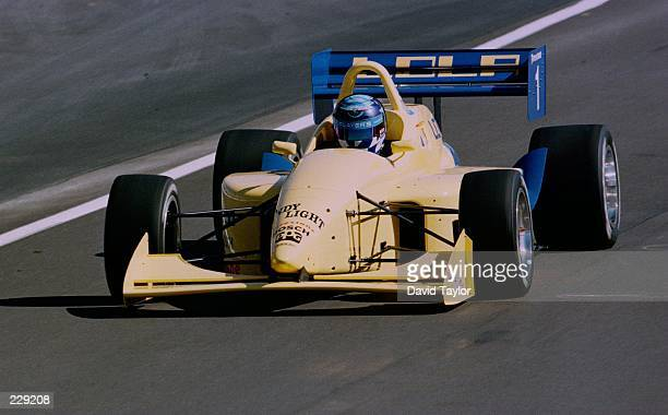 Greg Moore demonstrates the new Indy Lights Lola T97/20 during the Bank of America 300 at the Monterey Grand Prix round sixteen of the PPG Indycar...
