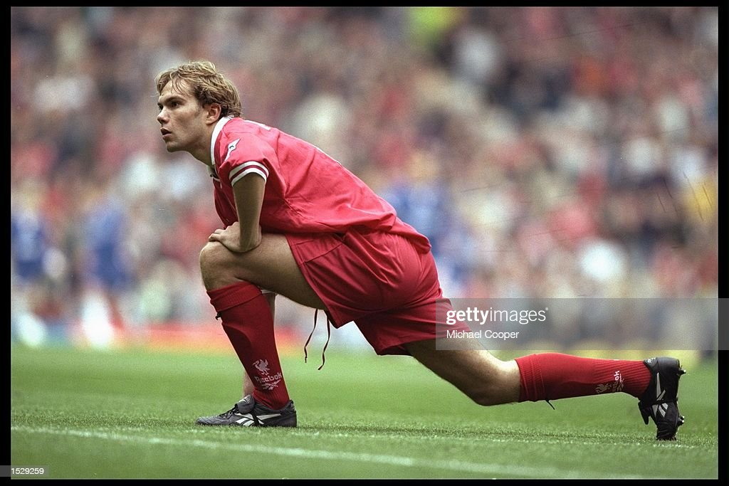 Jason McAteer of Liverpool warms up before the start of the FA Carling Premiership match between Liverpool and Chelsea at Anfield in Liverpool. Liverpool went on to win the match by 5-1. Mandatory Credit: Mike Cooper/Allsport