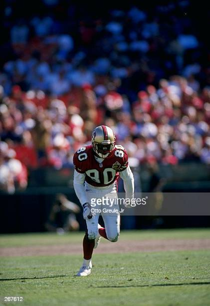 Jerry Rice of the San Francisco 49ers in action during their 2711 win over the New Orlean Saints in San Francisco California Mandatory Credit Otto...