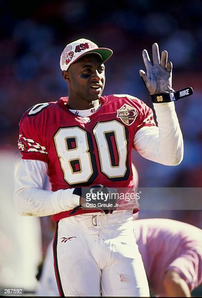 Jerry Rice of the San Francisco 49ers looks on during their 340 win over the St Louis Rams in San Francisco California Mandatory Credit Otto Greule...