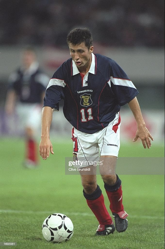 John Collins of Scotland in action during the World Cup qualifying match against Austria in Austria. The match ended in a 0-0 draw. \ Mandatory Credit: Clive Brunskill/Allsport
