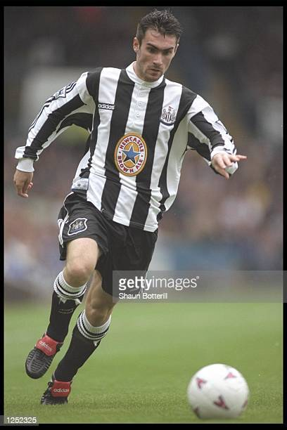 Keith Gillespie of Newcastle United on the ball during the FA Carling Premiership match between Leeds United and Newcastle United at Elland Road...