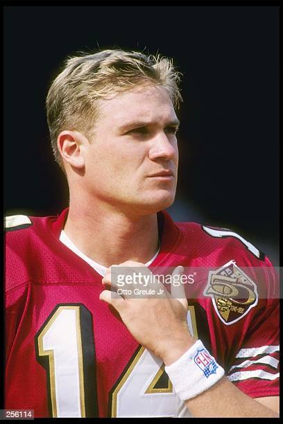 Kicker Jeff Wilkins of the San Francisco 49ers looks on during a game against the Atlanta Falcons at 3Com Park in San Francisco California The 49ers...