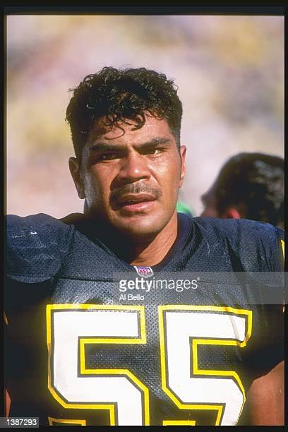 Linebacker Junior Seau of the San Diego Chargers looks on during a game against the Cincinnati Bengals at Jack Murphy Stadium in San Diego California...