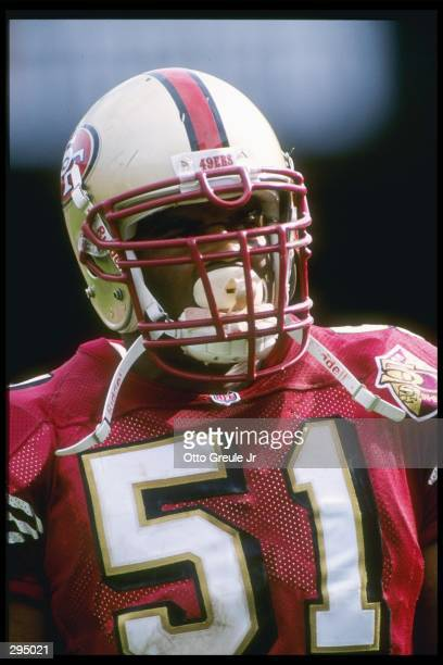 Linebacker Ken Norton of the San Francisco 49ers looks on during a game against the Atlanta Falcons at 3Com Park in San Francisco California The...