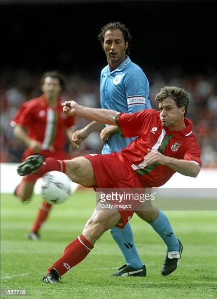 Mark Hughes of Wales tries a volley in the World Cup qualifier against San Marino at Cardiff Arms Park in Wales Wales won 60 Pic Steve Morton...