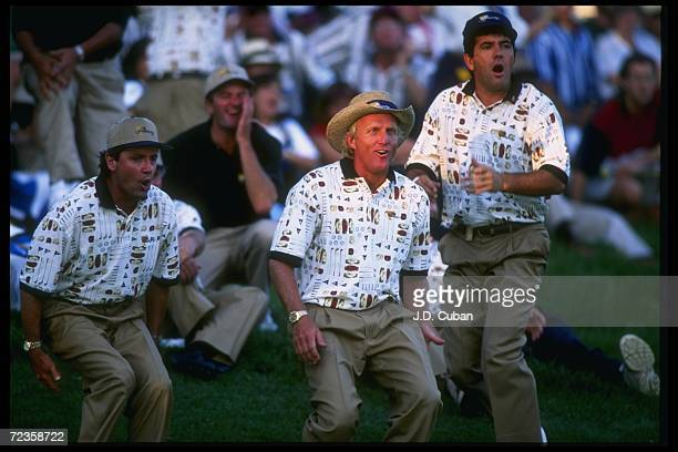Mark McNulty Greg Norman and David Frost look on during the President''s Cup at Lake Manassas Golf Club in Manassas Virginia Mandatory Credit JD...