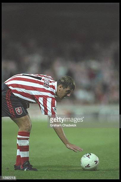 Matthew Le Tissier of Southampton in action during the FA Carling Premiership match against Nottingham Forest at the Dell in Southampton Mandatory...