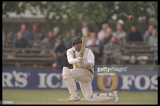 Phil Simmons gets a century during the county championship match between Leicestershire and Middlesex at Leicester. Mandatory Credit: Ross...