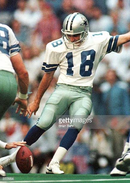 Place kicker Chris Boniol of the Dallas Cowboys attempts what would have been a game winning 57 yard field goal in last few seconds of the fourth...