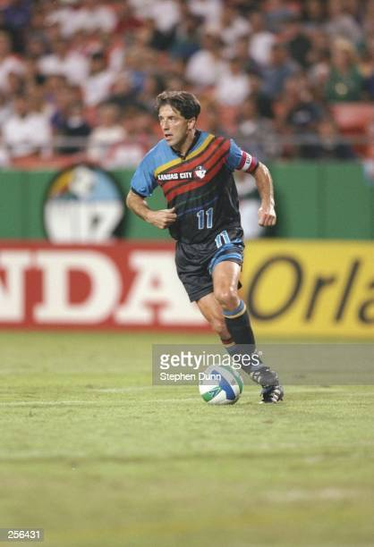 Preki of the Kansas City Wizards dribbles the ball during their MLS game against the San Jose Clash at Arrowhead Stadium in Kansas City, Missouri....