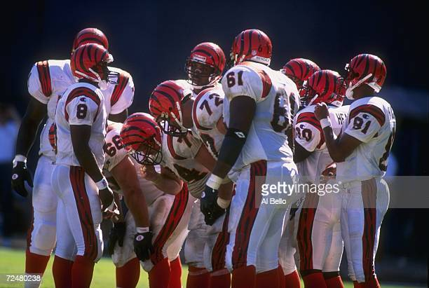Quarterback Jeff Blake of the Cincinnati Bengals huddles with the offense during the Bengals 2714 loss to the San Diego Chargers at Jack Murphy...