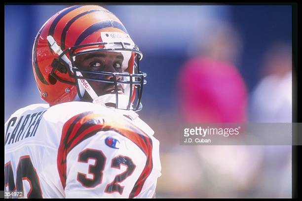 Running back KiJana Carter of the Cincinnati Bengals during the Bengals 2714 loss to the San Diego Chargers at Jack Murphy Stadium in San Diego...