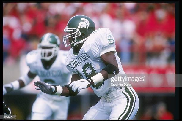 Safety Marvin Wright of the Michigan State Spartans stands on the field during a game against the Nebraska Cornhuskers at Memorial Stadium in Lincoln...