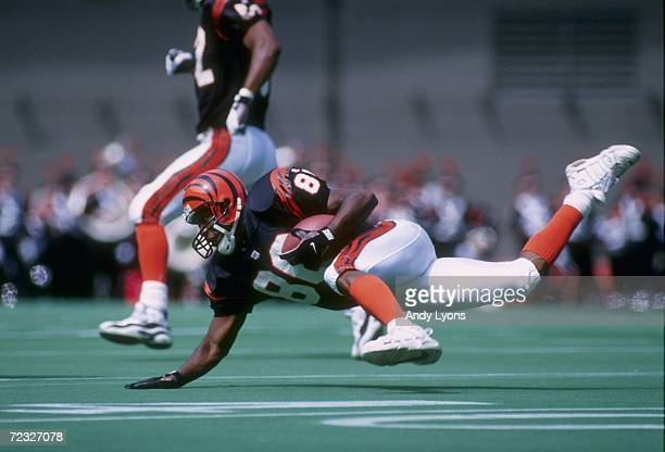 Wide receiver Darnay Scott of the Cincinnati Bengals goes to the turf following a reception during the Bengals 3015 victory over the New Orleans...