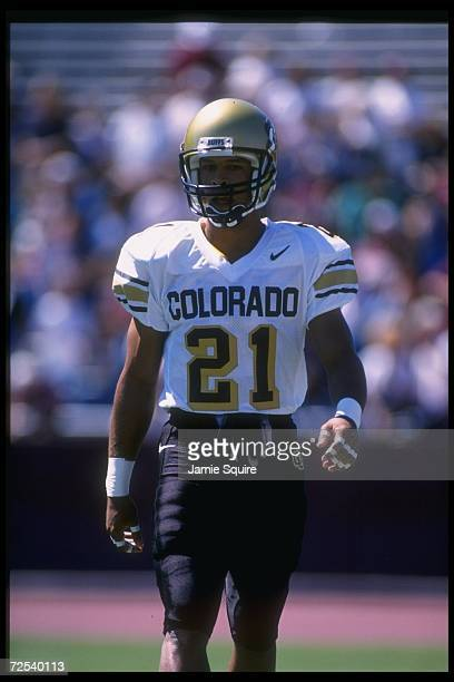 Wide receiver Rae Carruth of the Colorado Buffaloes looks on during a game against the Texas A&M Aggies at Kyle Field in College Station, Texas....