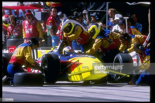 Andre Ribiero of Brazil in the pits during the Marlboro 500 at the California Speedway in Fontana California Mandatory Credit David Taylor /Allsport