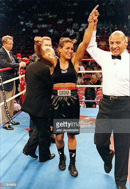 Boxer Lucia Rijker is declared the winner over Andrea DeShong after a match at the Thomas and Mack Center in Las Vegas Nevada Mandatory Credit Jed...