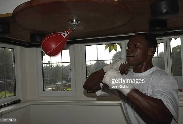Chris Eubank of England trains in his gym before his comeback fight in Brighton England Mandatory Credit John Gichigi /Allsport