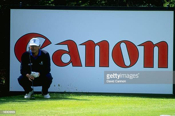 Costantino Rocca of Italy relaxes on the tee during the Canon European Masters at the Crans Sur Sierre Golf Club in Switzerland Mandatory Credit...