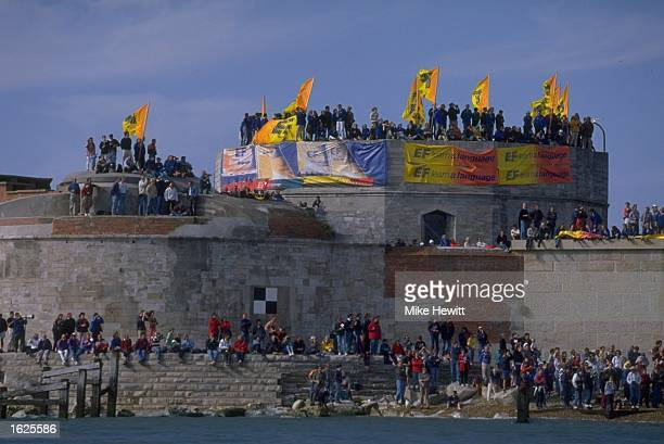 Crowds gather on Hurst Castle to watch the Whitbread 60s sail past during the Whitbread Round the World Race for the Volvo Trophy 199798 in Hampsire...