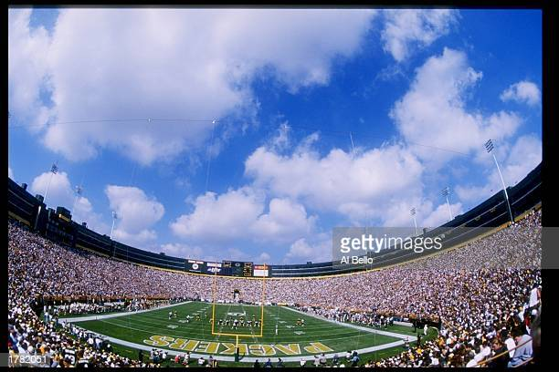 Fans of the Green Bay Packers look on during a game against the Miami Dolphins at Lambeau Field in Green Bay Wisconsin The Packers won the game 2318...