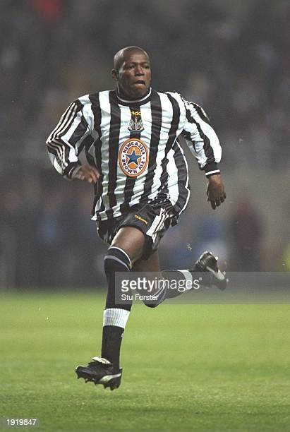 Faustino Asprilla of Newcastle United in action during an FA Carling Premiership match against Everton at St James'' Park in Newcastle England...