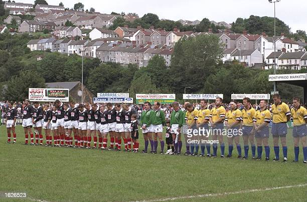 General view of the Pontypridd and Bath teams observing one minute's silence for Diana Princess of Wales before the Heineken European Cup match at...