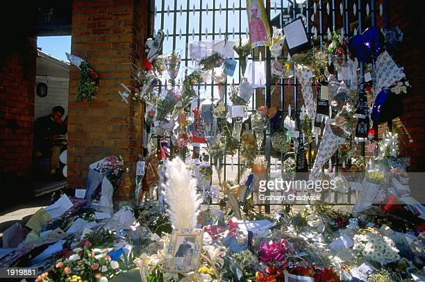 General view of the tributes to Diana Princess of Wales and Dodi Al Fayed at the gates of Craven Cottage before a Nationwide League Division Two...
