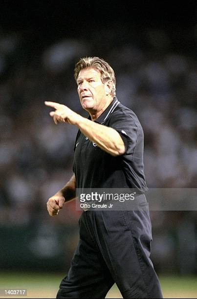 Head coach Joe Bugel of the Oakland Raiders during the Raiders 2827 loss to the Kansas City Chiefs at the Oakland Coliseum in Oakland California...