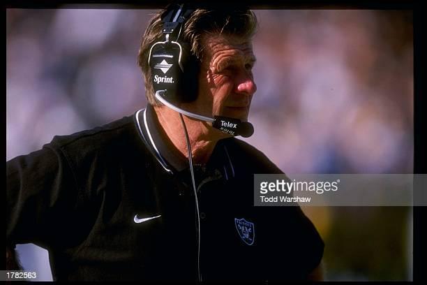 Head coach Joe Bugel of the Oakland Raiders during the Raiders 3517 win over the St Louis Rams at UMAX Stadium in Oakland California Mandatory Credit...