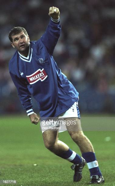 Ian Marshall of Leicester City celebrates during the UEFA Cup First Round match against Athletico Madrid at the Vincente Calderon in Madrid Spain...