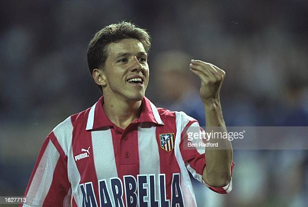 Juninho of Athletico Madrid celebrates during the UEFA Cup First Round match against Leicester City at the Vincente Calderon in Madrid Spain...