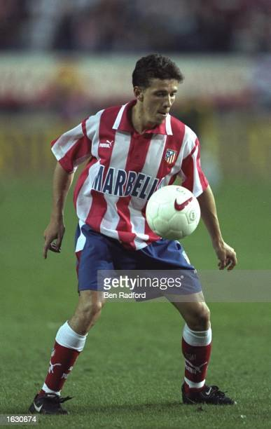 Juninho of Atletico Madrid in action during a UEFA Cup First Round match against Leicester City at the Vincente Calderon Stadium in Madrid Spain...