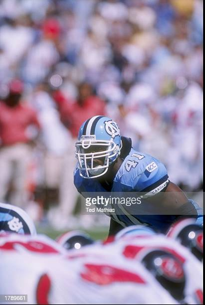 Linebacker Brian Simmons of the North Carolina Tar Heels stands in position during a game against the Indiana Hoosiers at Kenan Stadium in Chapel...