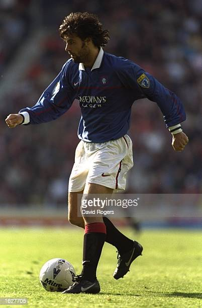 Marco Negri of Rangers in action during the Scottish Premier League match against Aberdeen at Ibrox Stadium in Glasgow Scotland The match ended in a...