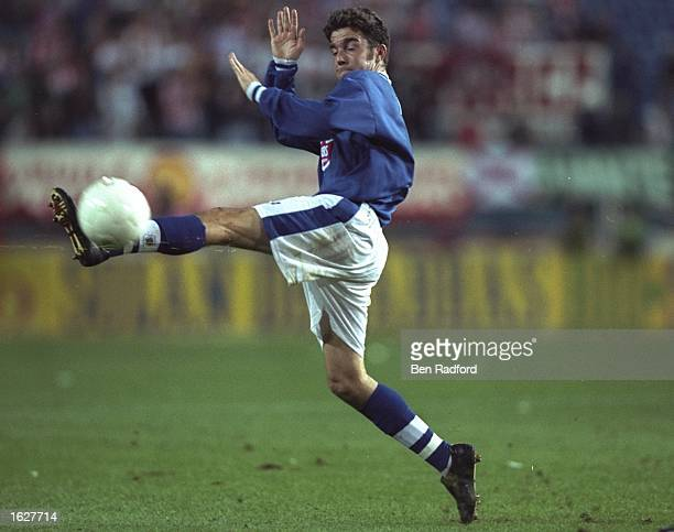 Mustafa Izzet of Leicester City in action during the UEFA Cup First Round match against Athletico Madrid at the Vincente Calderon in Madrid Spain...